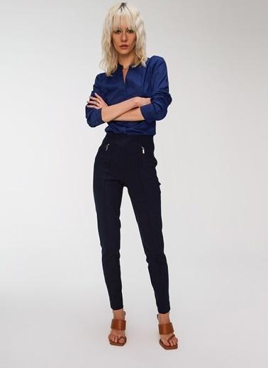 People By Fabrika Cepleri Fermuar Detaylı Pantolon Lacivert